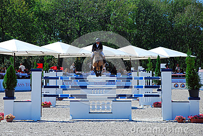 Rider on a horse jumps triple barrier Editorial Photography