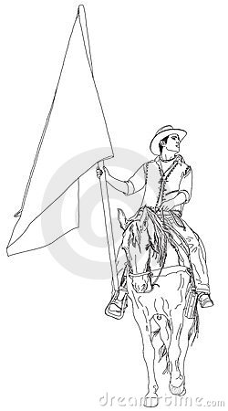 Rider on horseback with a flag