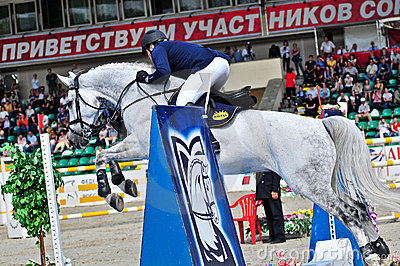 Rider on show jump horse Editorial Image
