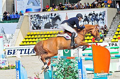 Rider on show jump horse Editorial Stock Photo