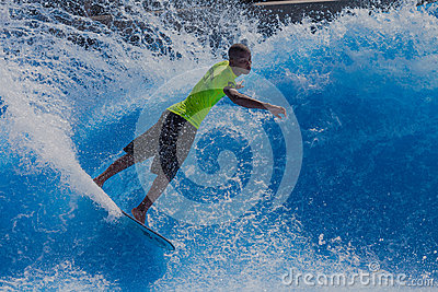 Surfer Skill Spray Wave-Pool Editorial Photography