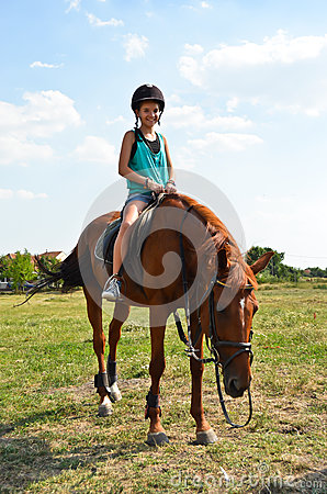 Rides on a horse
