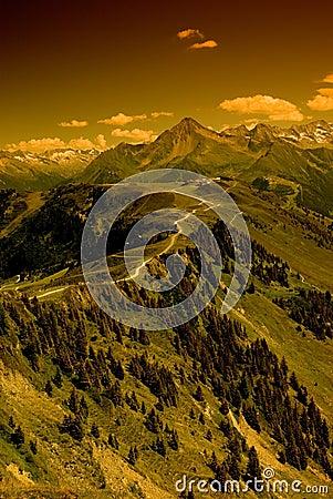 Ridge route in Alps