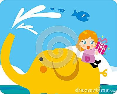 море riding слона детей