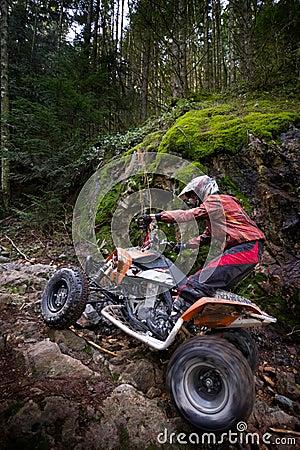 Free Riding ATV In Mountains Stock Photo - 13064540