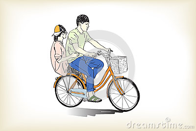 Riding bicycle boy an girl free hand drawing, vector and illustr Vector Illustration