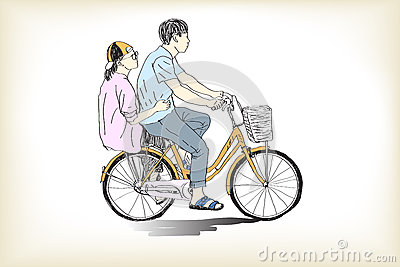 Riding bicycle boy an girl free hand drawing Vector Illustration