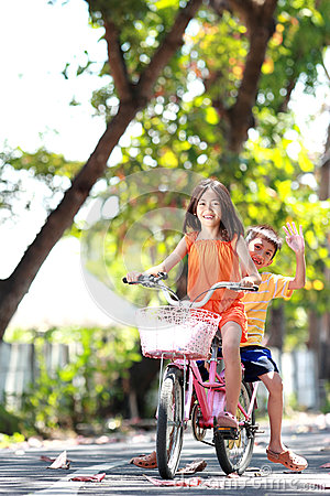Riding bicycle outdoor