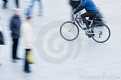Riding bicycle in the pedestrian area