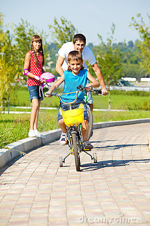 Riding bicycles