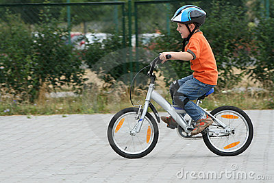 Riding bike in a helmet