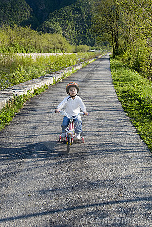 Riding bike in a park