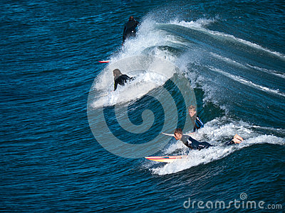Riding the blue waves Editorial Stock Image