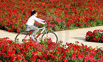 Riding through flowers