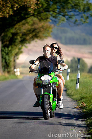 Riding the motorcycle