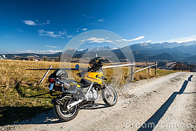 Riding mountains on motorbike
