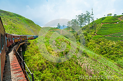 Riding by train in Sri Lanka