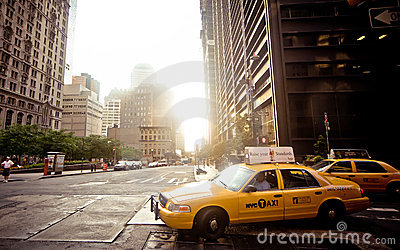 Riding yellow taxi cab in New York Editorial Image