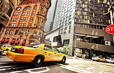 Riding yellow taxi cab in New York Editorial Photo