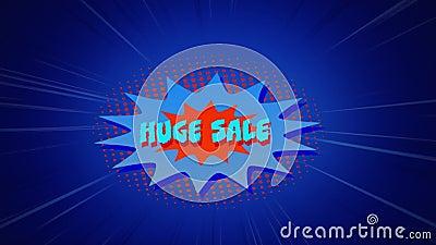 Riesige Verkaufsgrafik in blauer Explosion auf blauem Hintergrund lizenzfreie abbildung