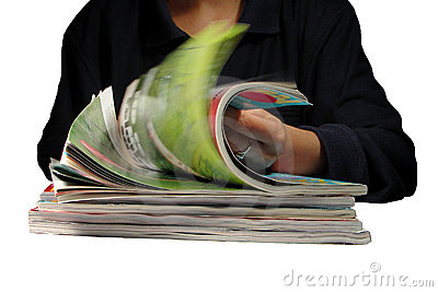 Riffling through magazines