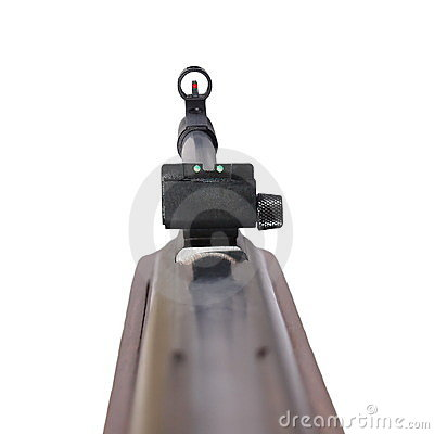 Rifle first person,  isolated on white