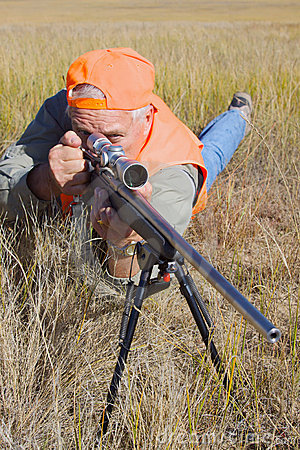 Rifle hunter in Prone Position