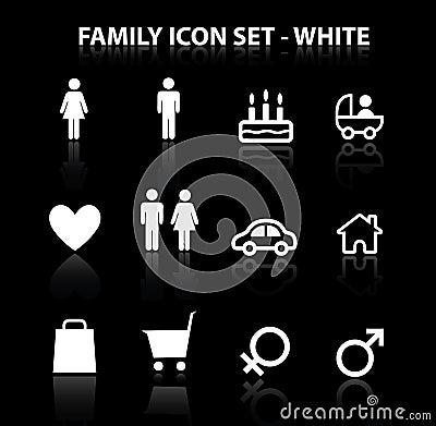 Rifletta l icona della famiglia impostata (bianco)