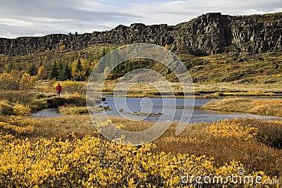 Rift valley at Pingvellir in Iceland