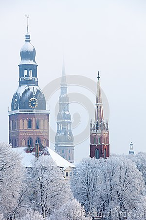 Free Riga, Latvia. Riga Cityscape In Winter Royalty Free Stock Image - 108217866