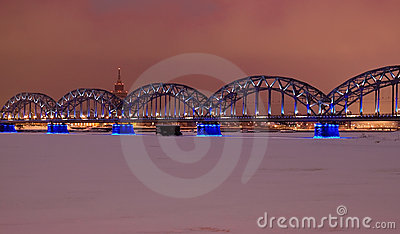 Riga railway bridge at night time