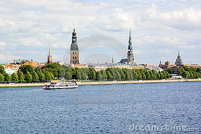 Riga s old town and Daugava river