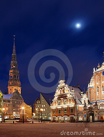 Riga, the town hall area,