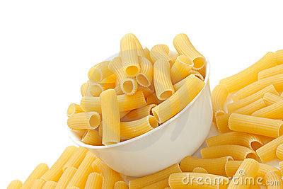Rigatoni pasta in bowl