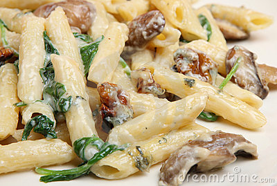 Rigatoni Pasta with Spinach & Cheese Sauce