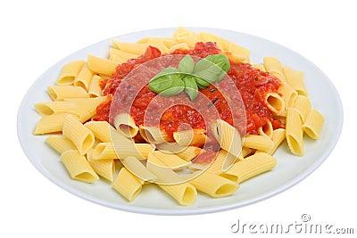 Rigatoni Pasta and Tomato Sauce
