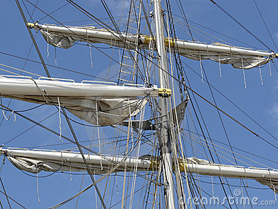 The rigging of the brig Mercedes from Amsterdam