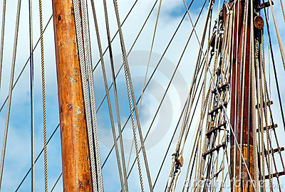 Rigging and ropes on sailboat
