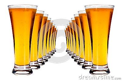 Righe di birra chiara