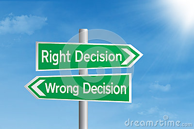 Right Decision Vs Wrong Decision Stock Photo - Image: 28964330
