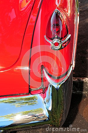 Right taillight of red car
