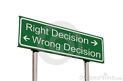 Right Wrong Business Decision Road Sign Isolated