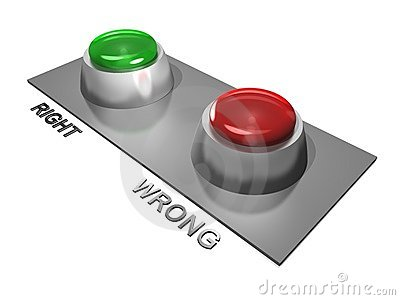 Right and wrong buttons