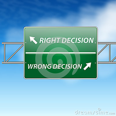 Right and wrong decisions direction board (sign) o