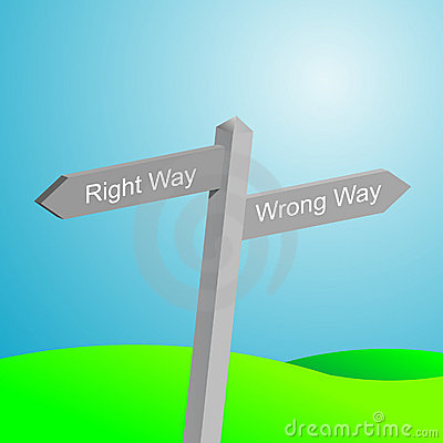 Right and wrong way sign