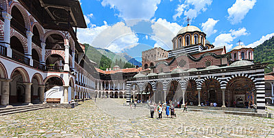 Rila Monastery Courtyard Editorial Stock Photo