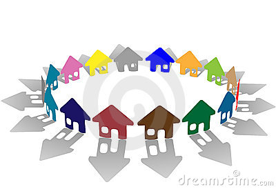 Ring of brightly colored house symbols