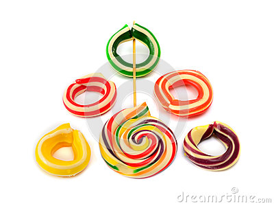 Ring candy on a white background