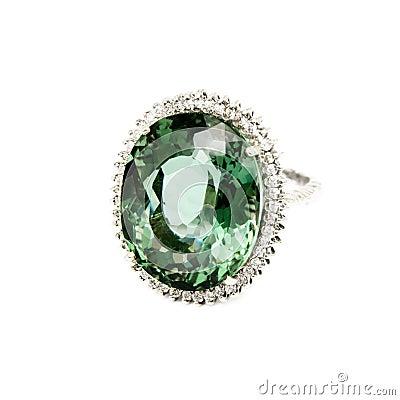 Free Ring - Green Semi-Precious Gemstone With Diamonds Royalty Free Stock Photography - 46706287