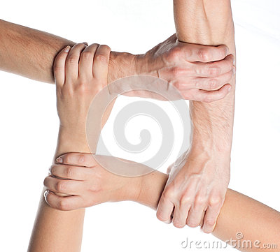 Ring of hands teamwork